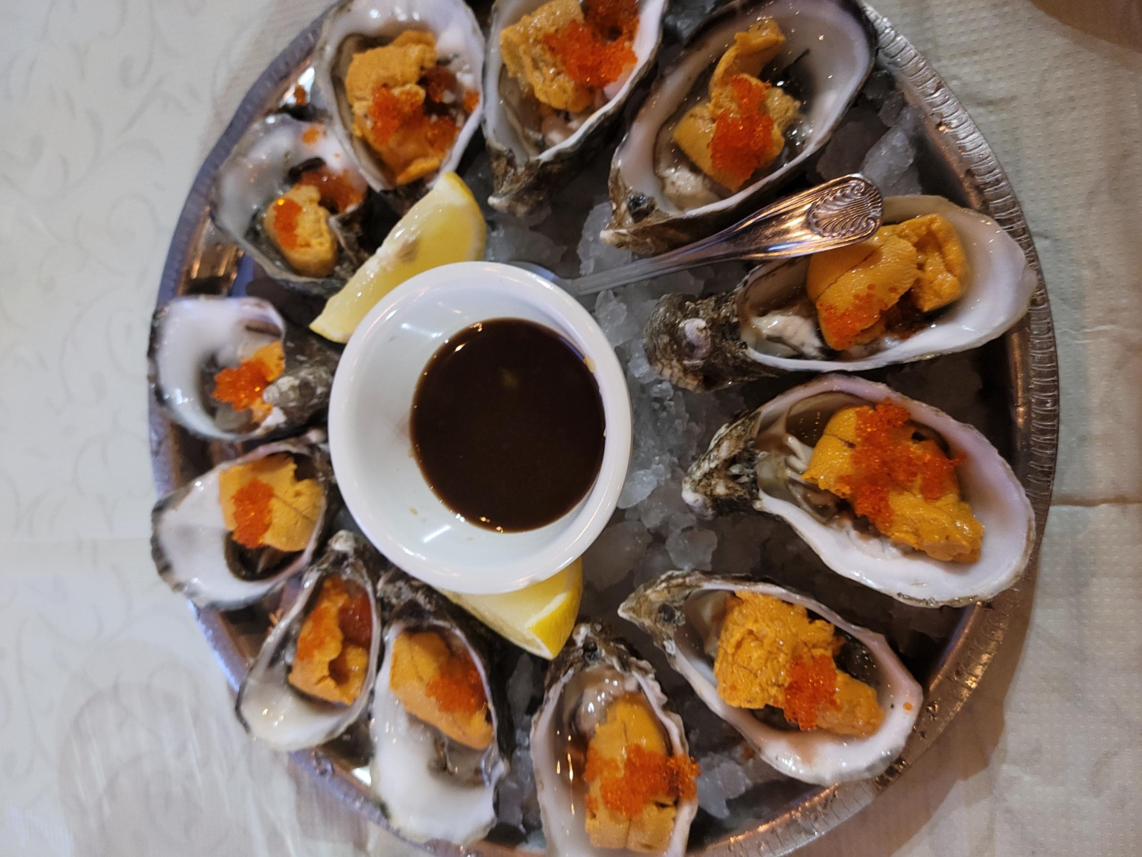 tobiko uni oysters